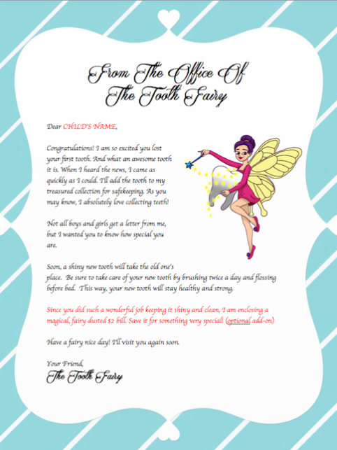 tooth fairy writing template - letter from the tooth fairy tooth fairy telegram